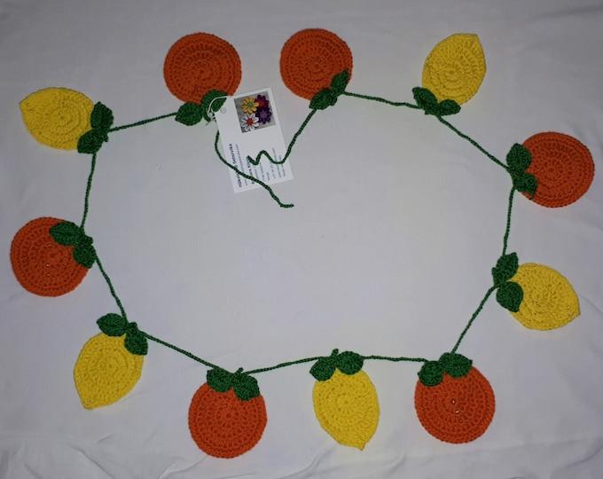 Crochet lemon garland, handmade bunting, rustic decoration, living room, nursery or kitchen wall hangings