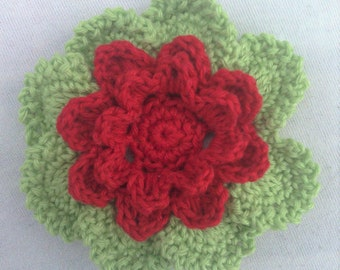 Crocheted Flower in 3.5 inches in red and green