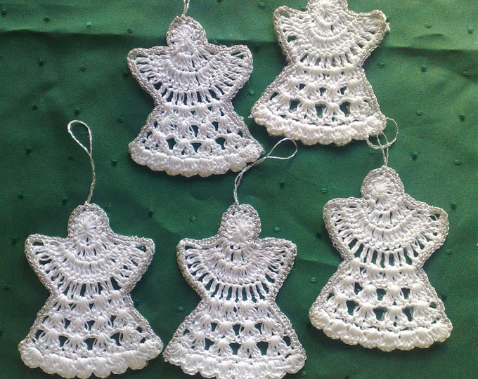 Set of 5 crochet Christmas angel ornaments, hanging angels, Christmas décor, winter décor, ornaments, Christmas gel, Christmas decorations tree