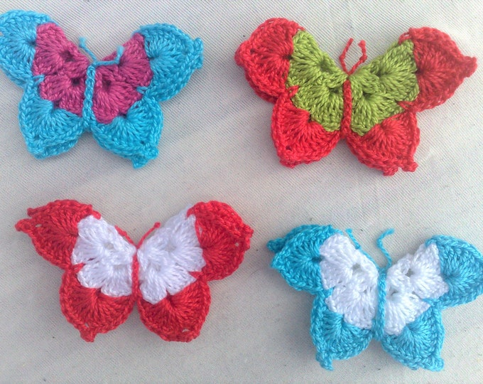 4 Butterfly Patch Crochet in colorful mix and three-dimensional