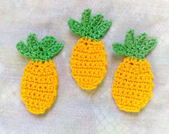 3 Pineapple Crochet Application lemon yellow, false food fruit crochet
