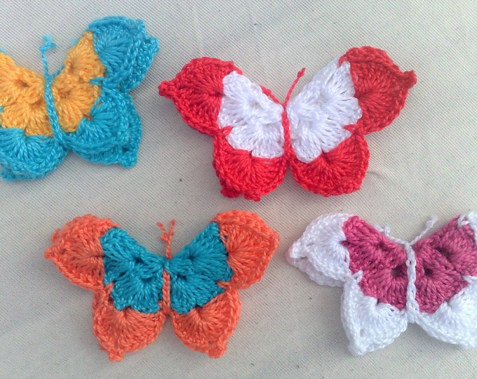 Crochet animals, 4 butterfly applications in colored mix crocheted patch for sewing accessories and Crafts