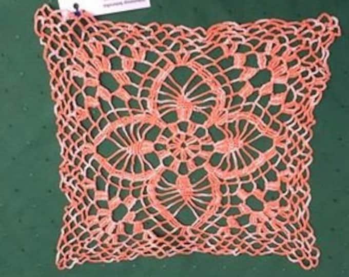 Small square crochet cover in orange cotton 10 inches
