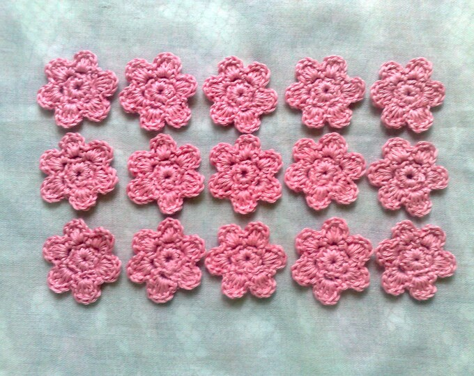 15 bright pink crocheted flowers for scrapbooking and dress decorating