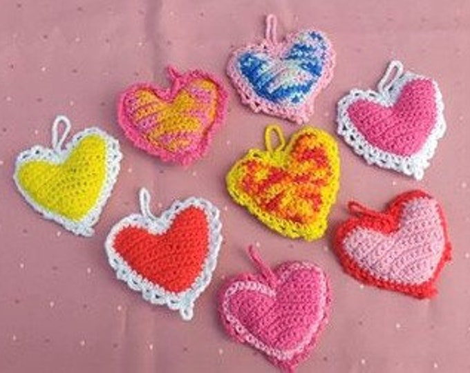 Valentine's Day Gift Organic Lavender Heart crochet, Valentine Heart Gift for Girlfriend, Valentin Decor, drawer closet stuffed heart pillow