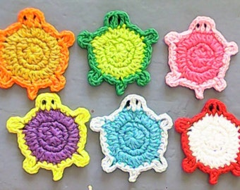Turtle crocheted Patch in your Desired Color 6 cm