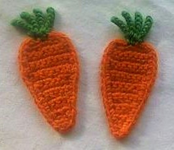 2 Carrots crocheted Patch, wrong Foods for the Doll Kitchen Application Crochet image Crochet Carrot