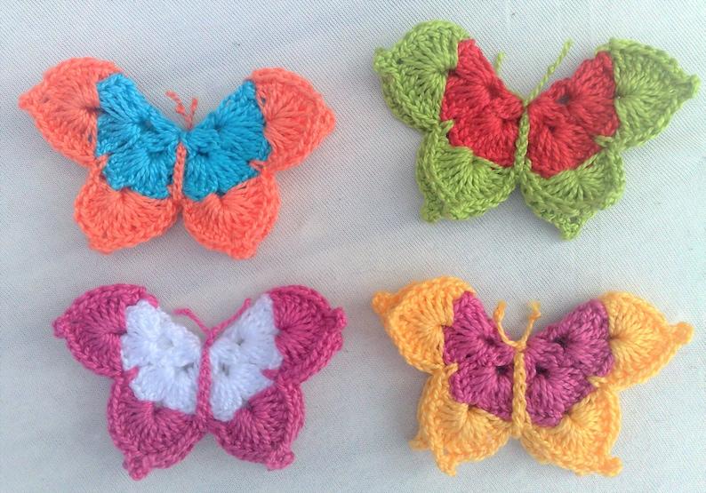 Butterflies 4 pieces of crocheted butterfly appliqués image 1
