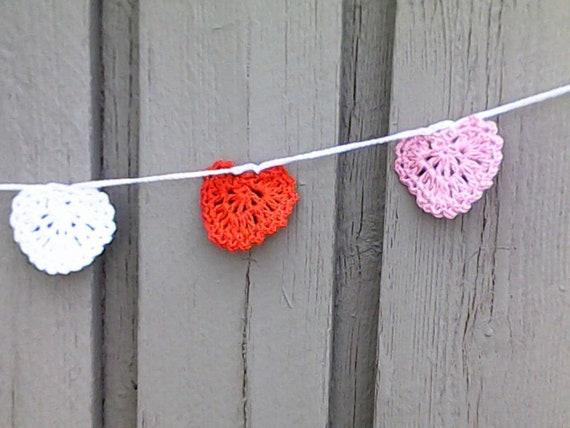 Love Heart garland garland crocheted hearts heart banner heart garland, glitter hearts, Valentine's Day décor Valentine's Day decoration