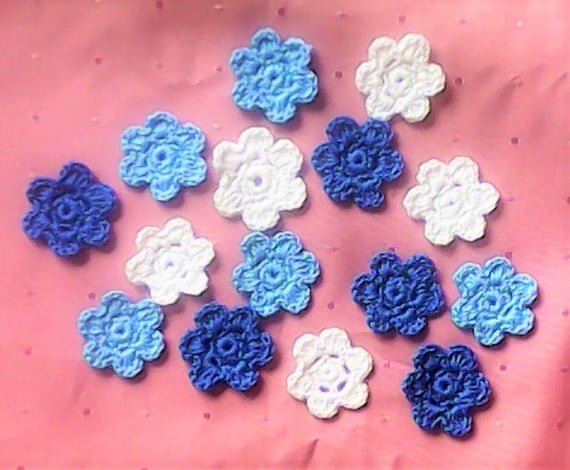 Crochet Floral Appliques in white, dark blue and light blue Cotton for Sewing Work and Scrapbooking