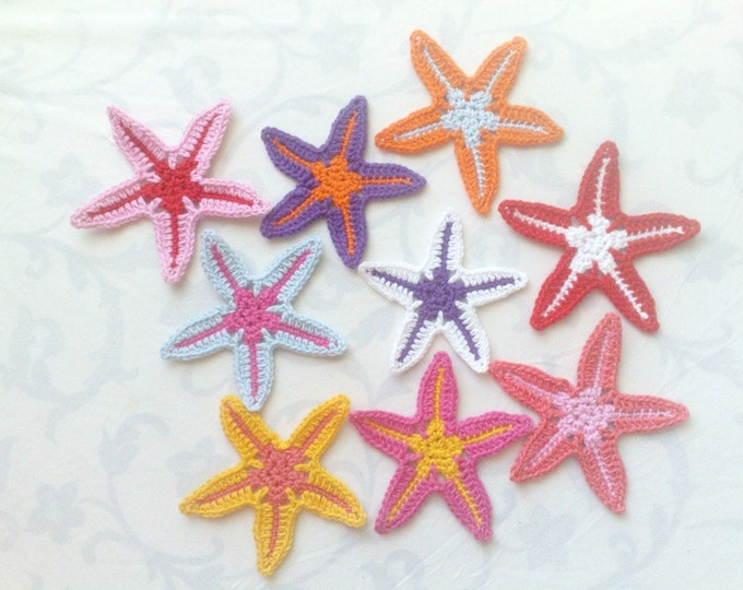 Featured listing image: Crochet Application Starfish Sewing accessories for summer, beach beautification and kindergarten nautical ocean sea 9er set