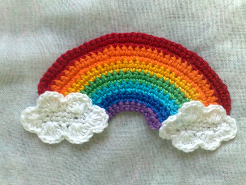 Rainbow and clouds crocheted appliques in white and in rainbow image 1