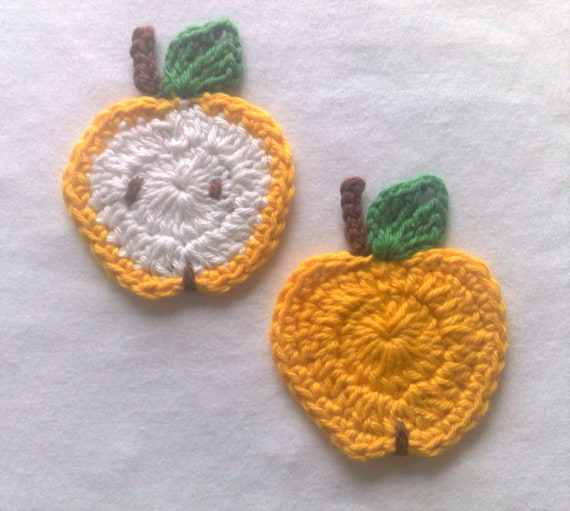 Yellow fruits crochet appliqués set 2 pieces, crochet apple and apple slice 3D home textiles, curtains