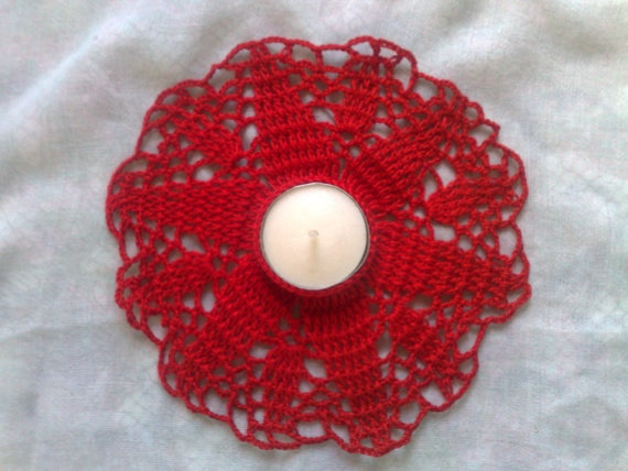 Crocheted Red tea Light holder for a romantic table decoration