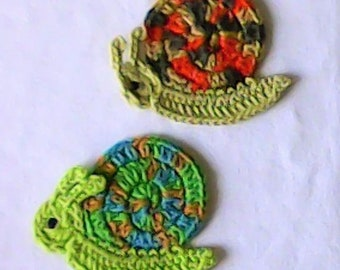 Snail crochet application, crocheted snail, appliqué, patch, crochet pattern, crochet snail
