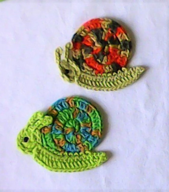 Snail crochet application, crocheted snail, appliqué, patch, crochet pattern, crochet snail