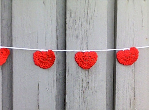 Crocheted garland with red hearts for Valentine's Day and Wedding Decoration