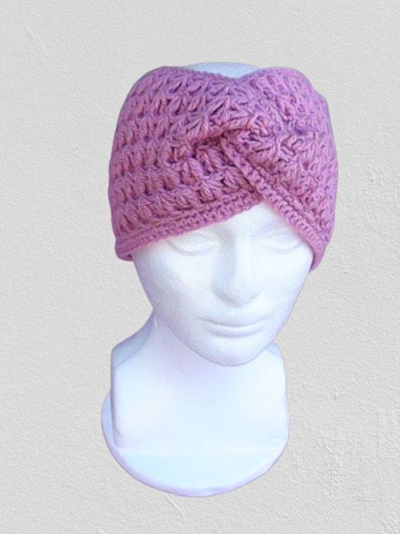 Crochet Plum Head Band Pink Headband Eggplant Crocheted Headband Pink Head Wrap Eggplant Ear Warmer Pink Headband