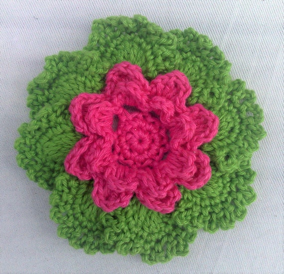 Crocheted Floral Applications 3.5 inch embellishment in pink and green cotton