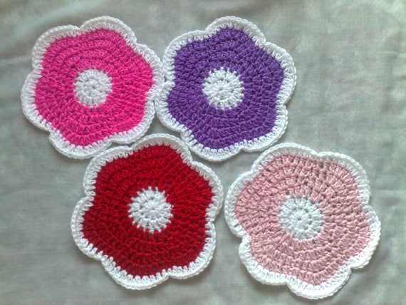 Crocheted Flower Coaster set of 4 pieces