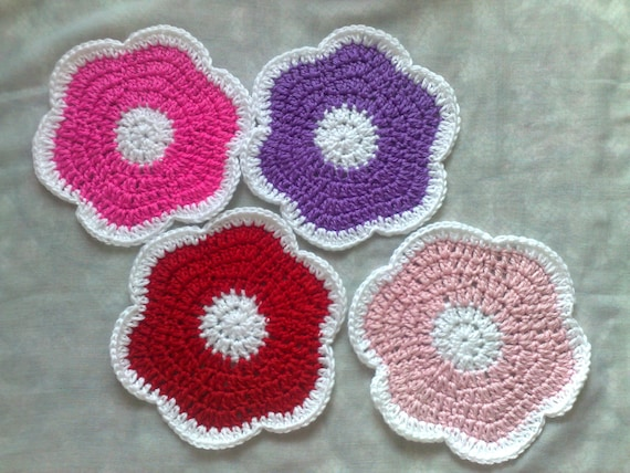 Crochet Flowers Coasters Set of 4 Pieces