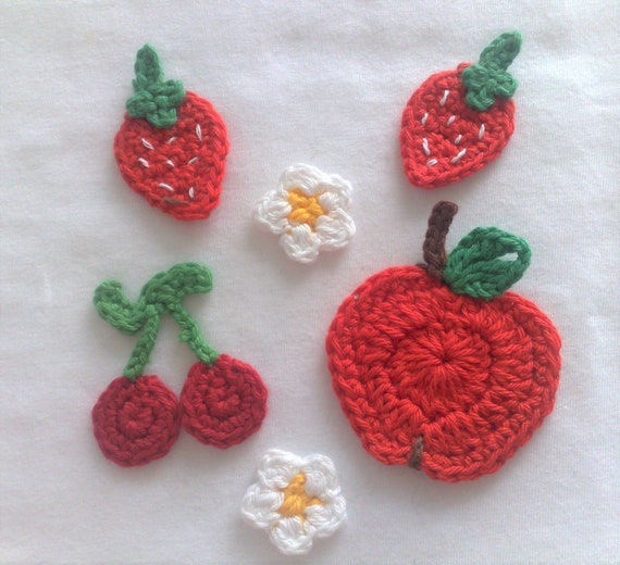 6 crochet appliqués, handmade crocheted patch in set strawberries apple flowers and cherries crochet