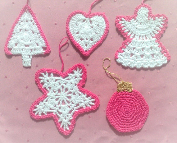 Christmas decorations two-coloured ornaments handmade crochet on tree hanging crocheted tree, star, angel, Christmas tree ball and heart
