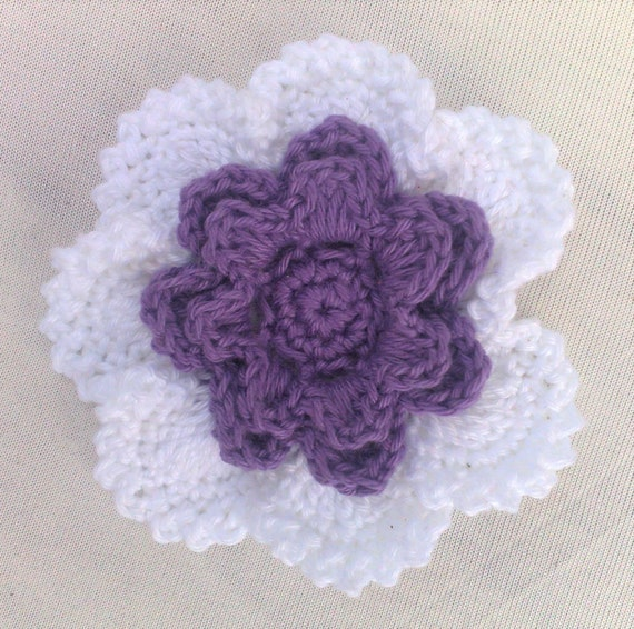 Crocheted Flower in 3.5 inches in white and purple