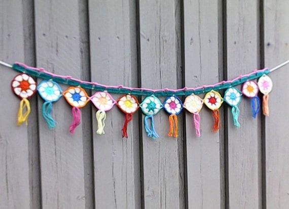 Hand Crochet Garland, Garland Boho, Garland Crochet, Bunting Summer Party Decoration Home Decor Kitchen Decoration Nursery