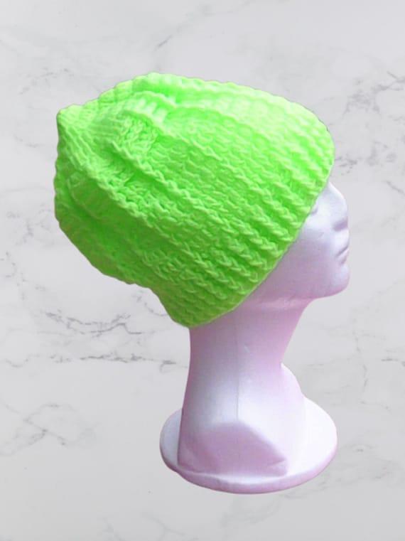 Green Slouch Crochet Cap Neon Green Crochet Pastel Colors Beanie Crochet Women Hat Slouchy Knit Green Beret Light Green slouch Tam