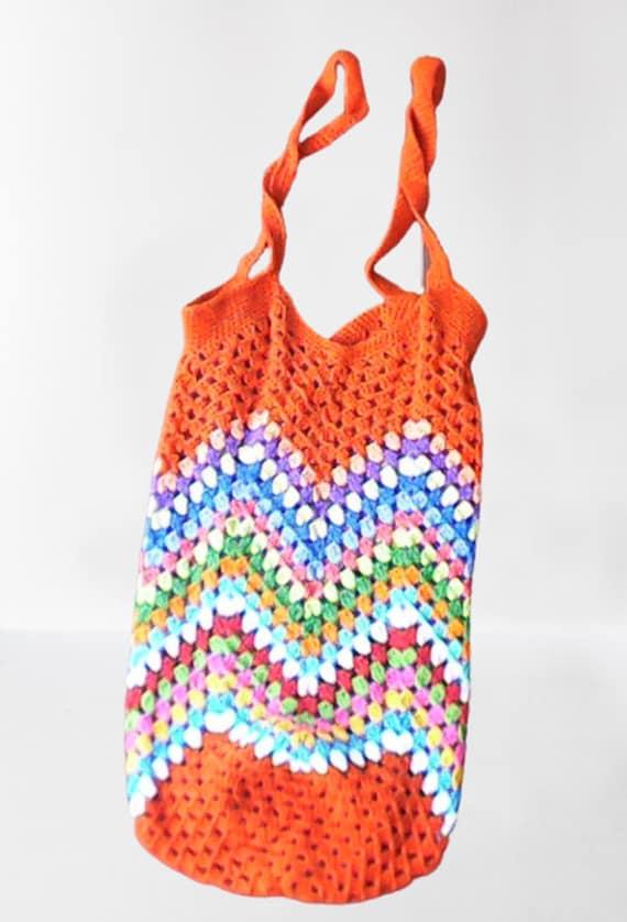 Crochet granny market bag handmade shopping reusable
