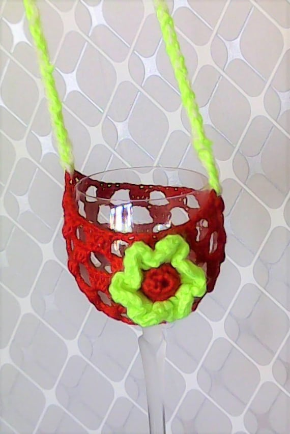 Mother's Day gift wine glass holder crocheted Necklace