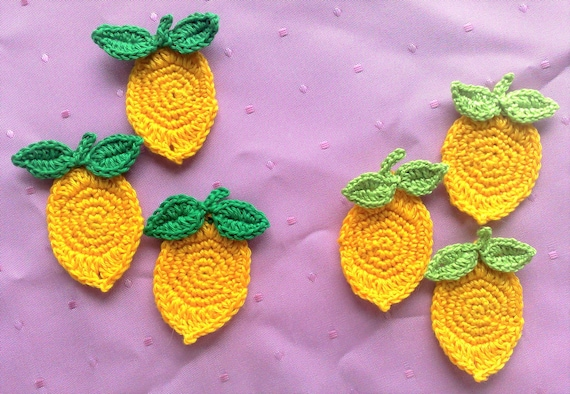 3 Lemons crocheted Applique in yellow, false Food Fruit crochet