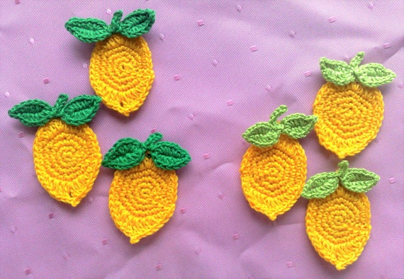 3 Lemon Crochet application in yellow, fake food fruits crochet