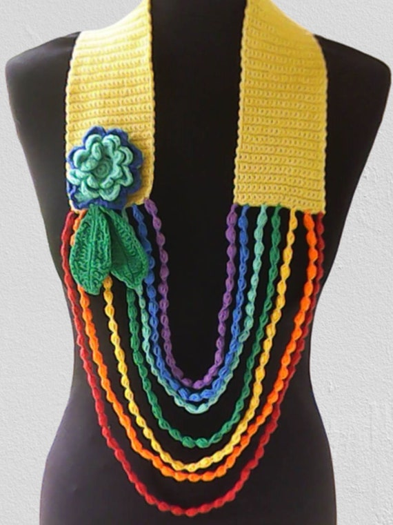 Unique fashionable flower scarf, crochet necklace colorful with large flower