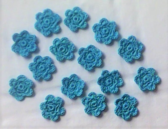 15 handmade crocheted floral patches in turquoise, crochet flowers and floral applications