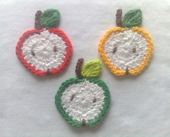 3 apple slices-crocheted, crocheted apple patch applique crochet fruit for home textiles, kitchen curtains, create material