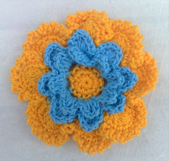 Appliqués of hand crocheted flower colors yellow and blue cotton 3.5 inches