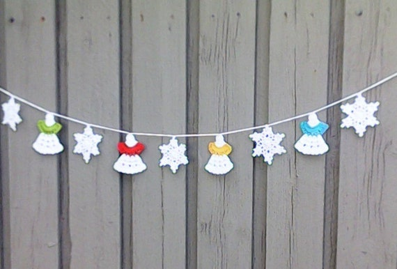 Angel garland, crochet white Christmas garland with 4 angels and 5 snowflakes for tree hanging and Christmas decoration