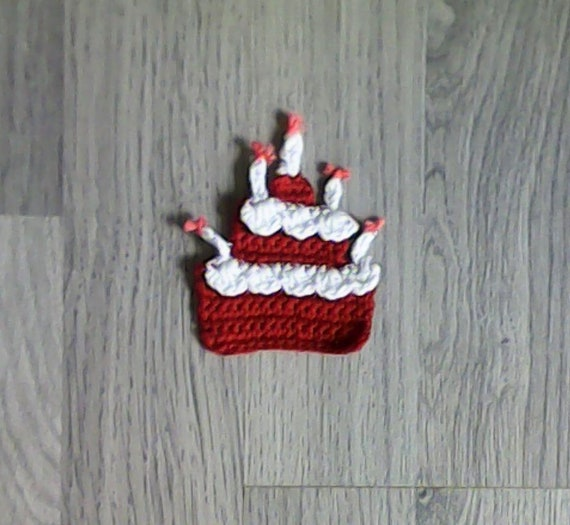 Cake with birthday candles crochet applique cake with candles crochet