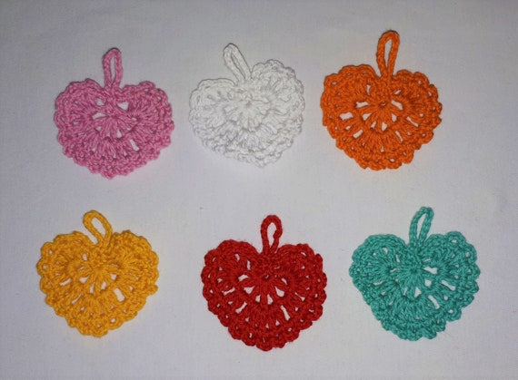 6 crocheted colorful hearts patch also for scrapbooking and decorating postcards