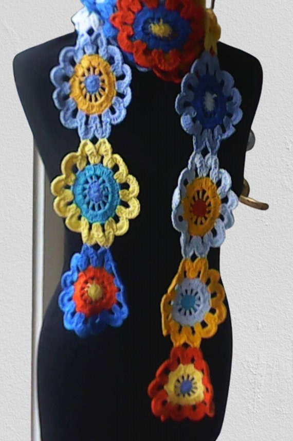 Crochet scarf, long scarf, woman scarf, colorful scarf, blue, yellow, length 99 inches