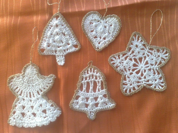 Christmas Ornaments Set (Lot 5) crochet jewelry, Christmas decorations Julfest ornaments crocheted Ornament Star, Tree, Angel, Bell Heart