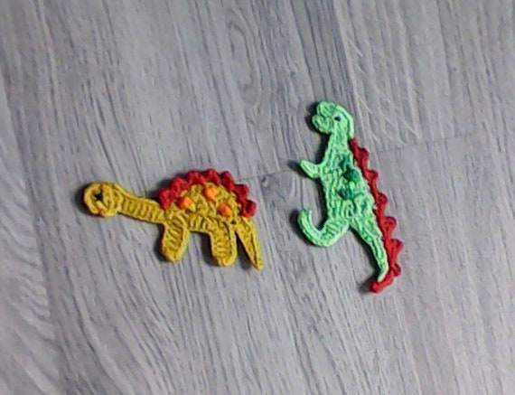 Dinosaur - crochet applique, handmade crochet patch