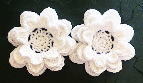 Crochet large Flowers 3-Inch Cotton Color white Set with 2 Flowers