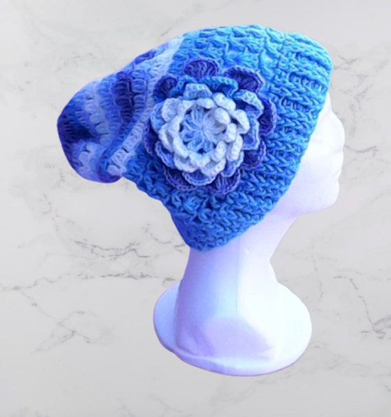 Beanie Wool Wool Beanie Warm Winter Hat Knitting Winter Women Adult Beanie, Warm Crochet Cap for Winter with Big Flower