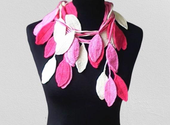 Autumn leaves necklace, crochet pink lariat scarf, lariat scarf necklace, leaves scarf, autumn scarf