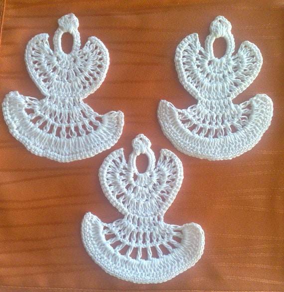 Set of 3 pieces white crochet angel Christmas tree decorationS Christmas ornaments crochet, Christmas angel