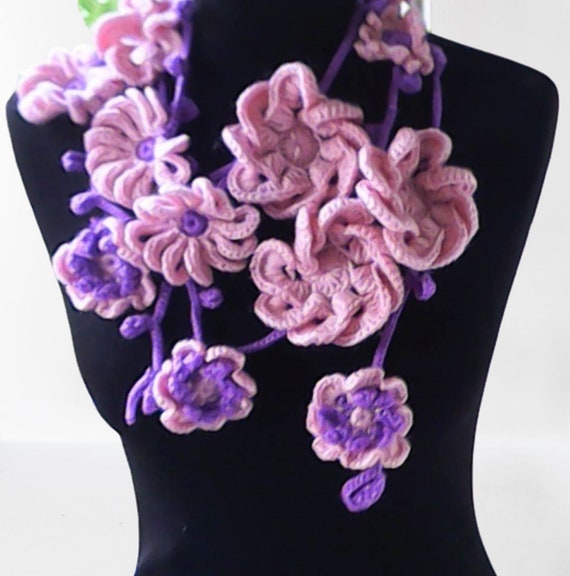 """Women crochet floral girl scarf necklace in light pink and purple, natural pastel colors 91"""""""