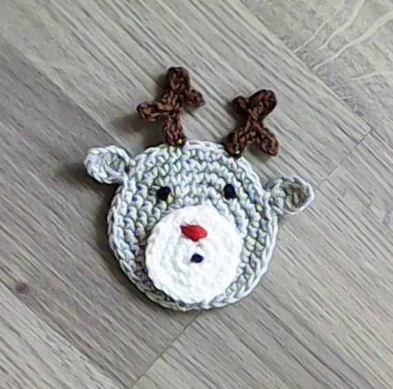 Crochet reindeer appliques, Christmas motifs, applique, crochet animals, reindeer Rudolph, animal motifs, deer applique